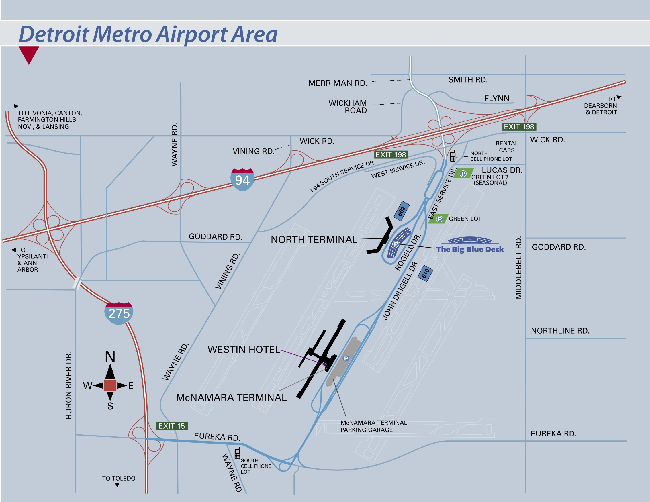Map Of Detroit Airport Campus Map | Wayne County Airport Authority