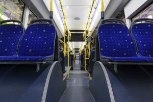 Inside of a shuttle bus