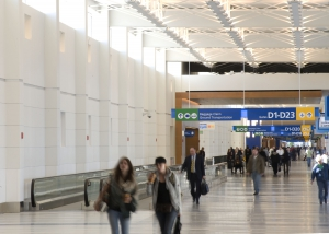 Passengers walking through North Terminal